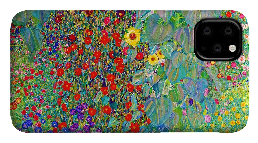 Gustav Klimt IPhone 11 Case featuring the painting Farm Garden With Sunflowers - Digital Remastered Edition by Gustav Klimt