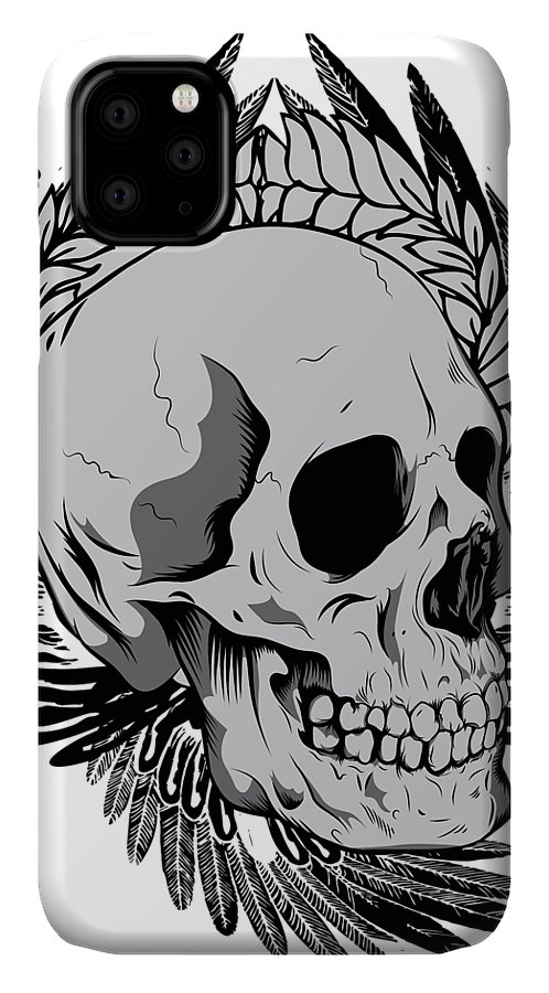 Halloween IPhone Case featuring the digital art Feathered Skull by Passion Loft
