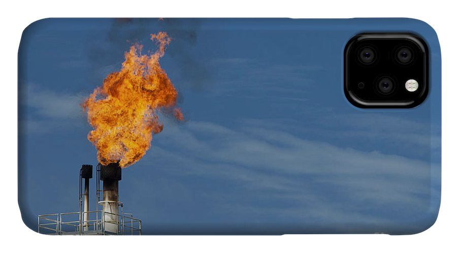 Fuel IPhone 11 Case featuring the photograph Fire On Rig In The Gulf Of Thailand by Tigergallery
