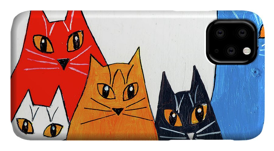 Cat IPhone Case featuring the painting Five Cool Cats by Genevieve Esson