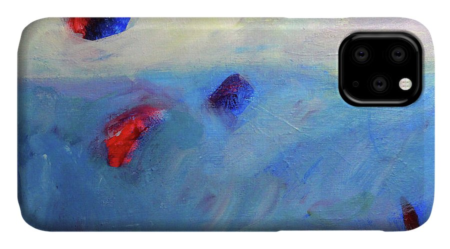 Blue Modern Art IPhone Case featuring the painting Floating -- Abstract Painting by Nancy Merkle