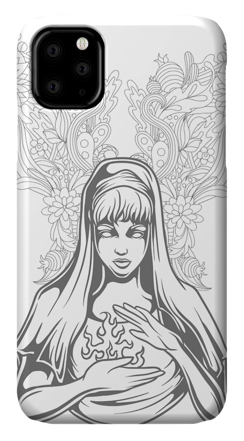 Flowers IPhone Case featuring the digital art Floral Fiery Woman by Passion Loft