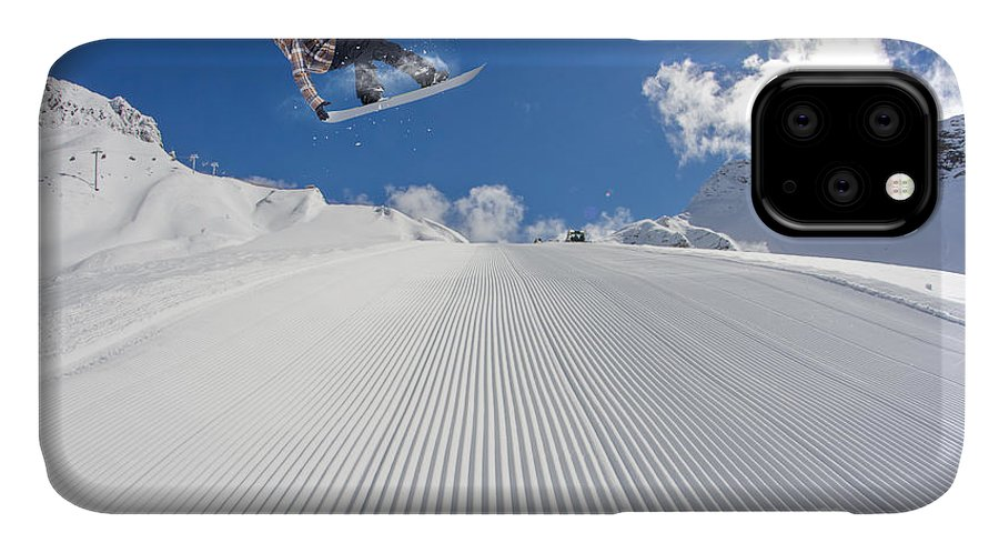 Snowboarding IPhone Case featuring the photograph Flying Snowboarder On Mountains by Merkushev Vasiliy