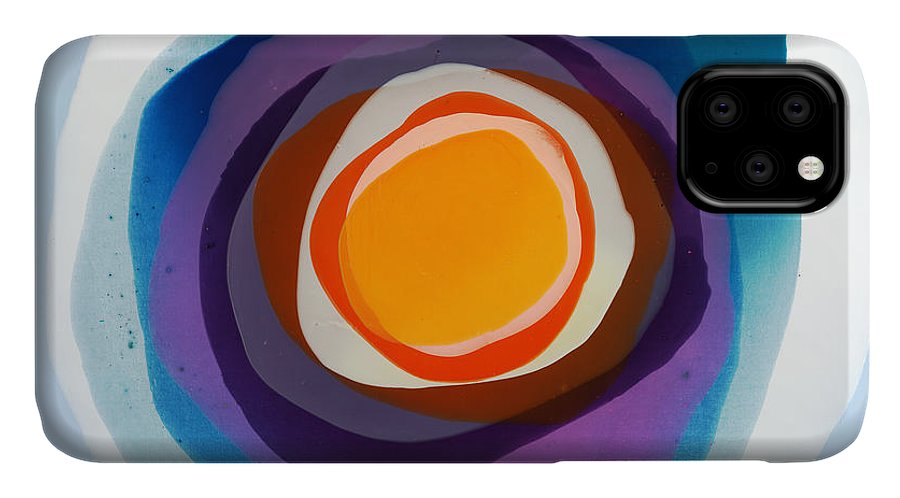Abstract IPhone 11 Case featuring the painting Focussed by Claire Desjardins