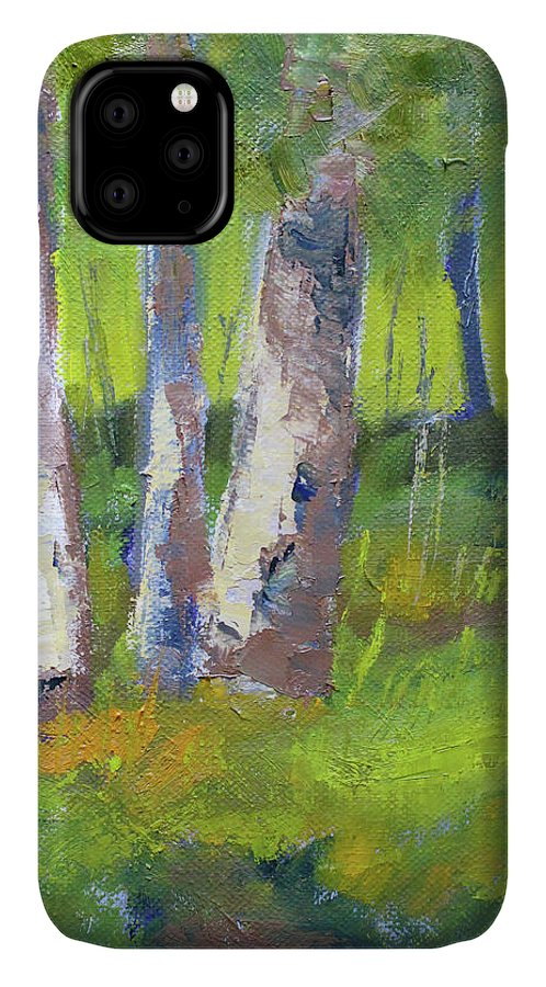 Forest Scene IPhone Case featuring the painting Forest Color Landscape by Nancy Merkle