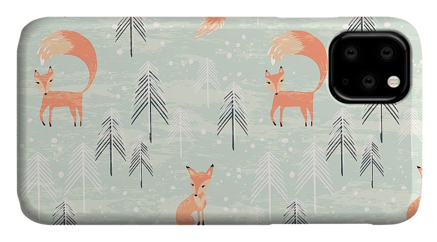 Gift IPhone Case featuring the digital art Fox In Winter Pine Forest. Seamless by Lidiebug
