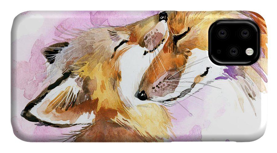Forest IPhone Case featuring the digital art Fox Watercolor Illustration. Mothers by Faenkova Elena