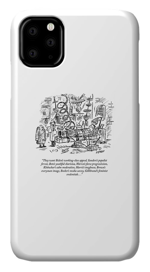 They Want Biden's Working-class Appeal IPhone Case featuring the drawing Freankenstein's Monster by David Sipress