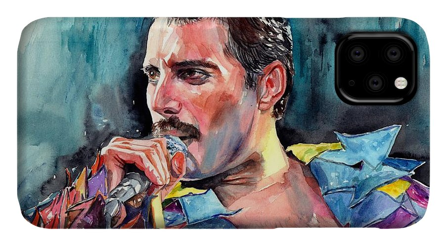 Freddie IPhone Case featuring the painting Freddie Mercury, New York City 1983 by Suzann Sines