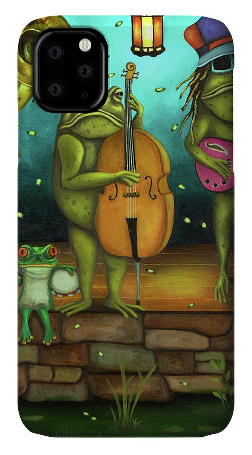 Frog IPhone Case featuring the painting Frog Music by Leah Saulnier The Painting Maniac