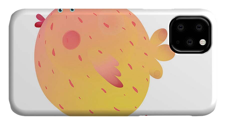Poult IPhone Case featuring the digital art Fun Colorful Mother Chicken Bird And by Popmarleo