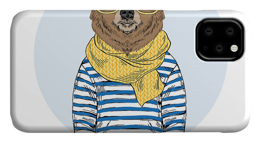 Fancy IPhone Case featuring the photograph Funny Bear Dressed Up In Frock Furry by Olga angelloz