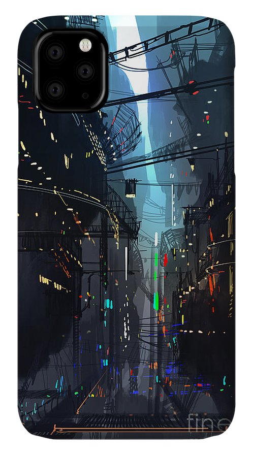 Fi IPhone 11 Case featuring the digital art Futuristic Floating City,landscape by Tithi Luadthong