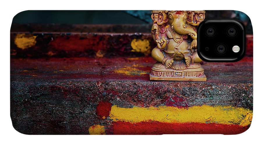 Ganesha IPhone Case featuring the photograph Ganesha On A Rural Hindu Temple In India by Tim Gainey