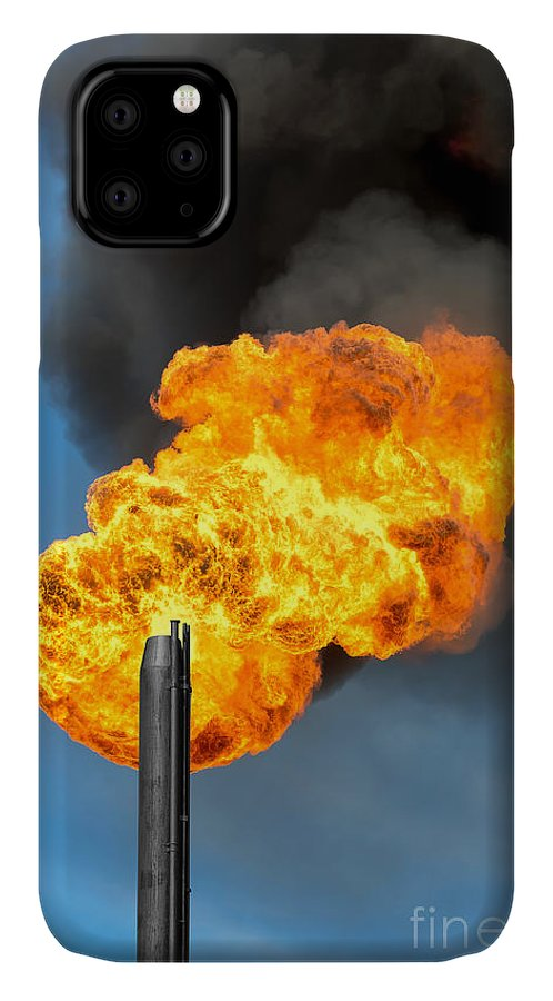 Flare IPhone 11 Case featuring the photograph Gas Flaring. Burning Of Associated Gas by Leonid Ikan