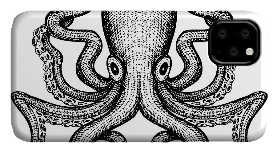 Etching IPhone 11 Case featuring the digital art Giant Octopus - Sea Monster by Iada