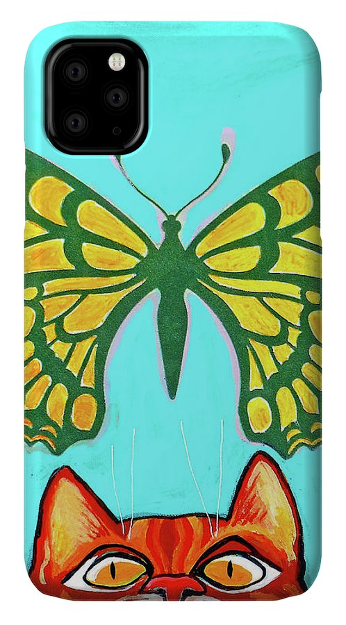Cat IPhone Case featuring the painting Ginger cat With Yellow Butterfly by Genevieve Esson