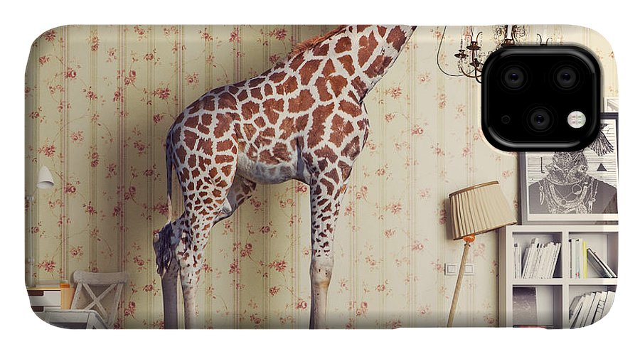 Insurance IPhone 11 Case featuring the photograph Giraffe Breaks The Ceiling In The by Zastolskiy Victor