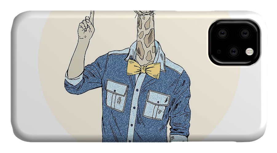 Fancy IPhone Case featuring the digital art Giraffe Hipster Point Out Up Furry Art by Olga angelloz