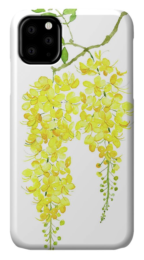 Golden Shower Flower Watercolor Iphone Case For Sale By Color Color