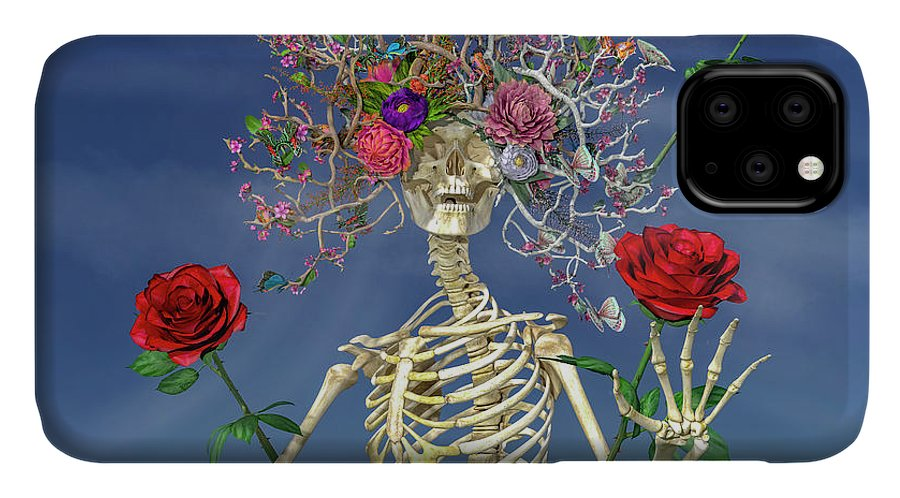 Skeleton IPhone 11 Case featuring the digital art Grateful Greetings And Good Times by Betsy Knapp