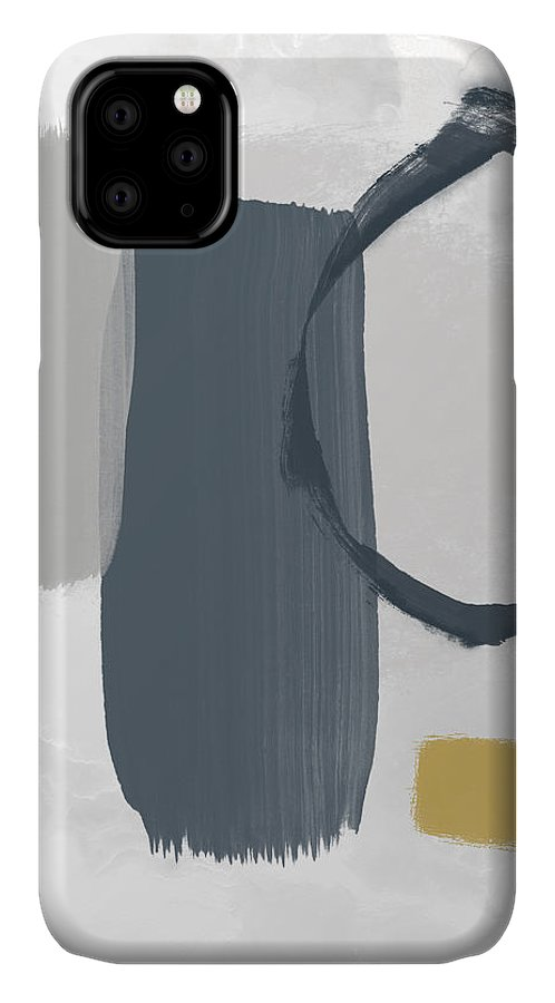 Abstract IPhone Case featuring the mixed media Grayscale 2- Abstract Art By Linda Woods by Linda Woods
