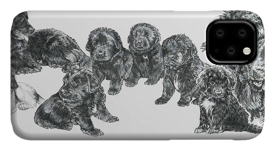 Puppies To Full Grown Newfoundland IPhone Case featuring the painting Growing Up Newfoundland by Barbara Keith