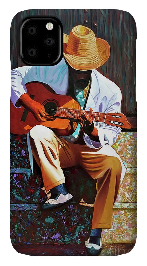 Cuban IPhone 11 Case featuring the painting Guitar Player #3 by Jose Manuel Abraham