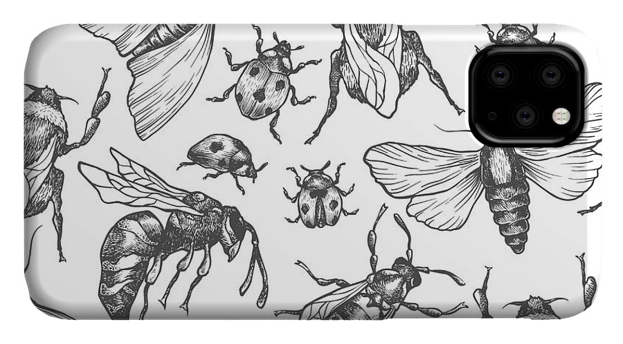 Bee IPhone Case featuring the digital art Hand Drawn Vector Pattern With Insects by Olga Olmix