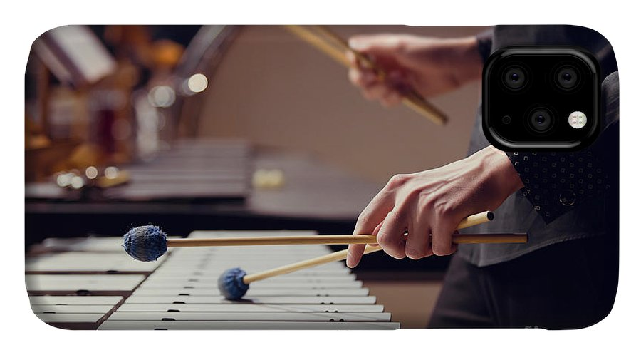 Theatrical IPhone 11 Case featuring the photograph Hands Of Musician Playing The Vibraphone by Furtseff