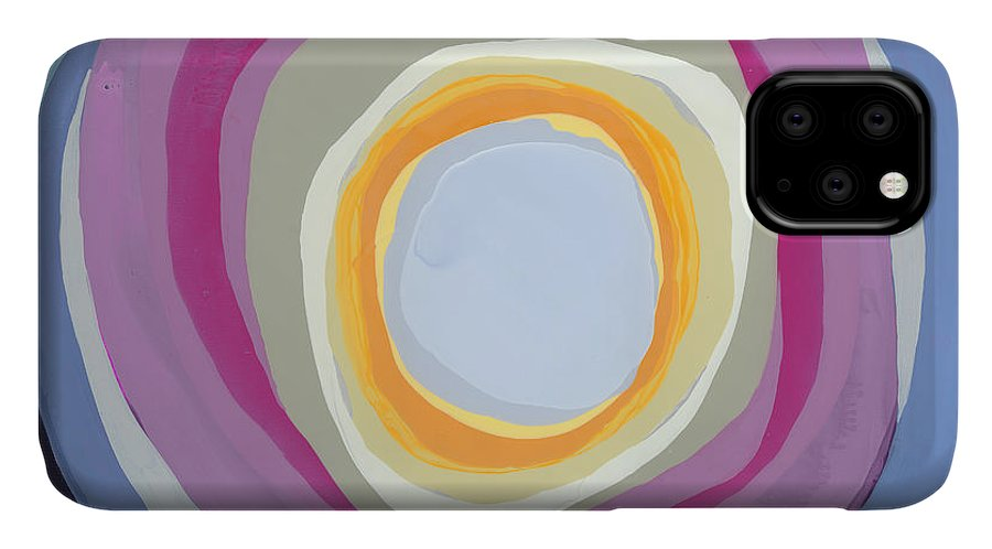 Abstract IPhone 11 Case featuring the painting Hang Cool by Claire Desjardins