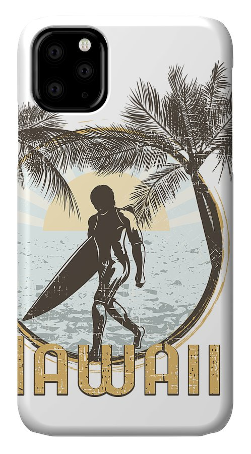 Beach IPhone Case featuring the digital art Hawaii Surfer On Beach by Passion Loft