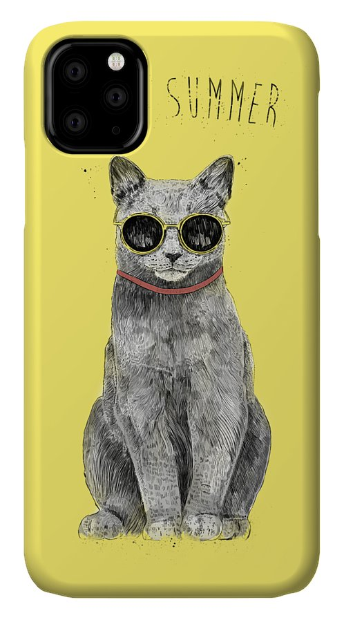 Cat IPhone Case featuring the drawing Hello Summer by Balazs Solti