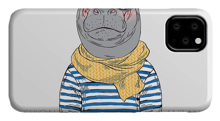 Fancy IPhone Case featuring the digital art Hippo Hipster Dressed Up In Frock by Olga angelloz