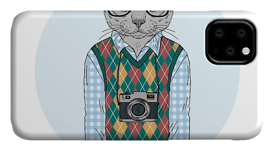 Fancy IPhone Case featuring the digital art Hipster Cat Boy With Photo Camera by Olga angelloz