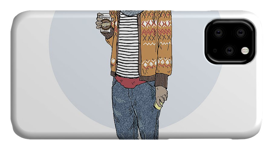 Fancy IPhone Case featuring the digital art Hipster Cat With Coffee, Furry Art by Olga angelloz