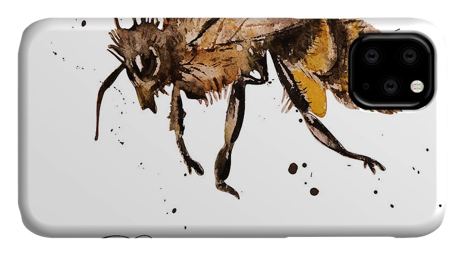 Antenna IPhone Case featuring the digital art Honey Bee, Watercolor, Isolation On A by Knopazyzy