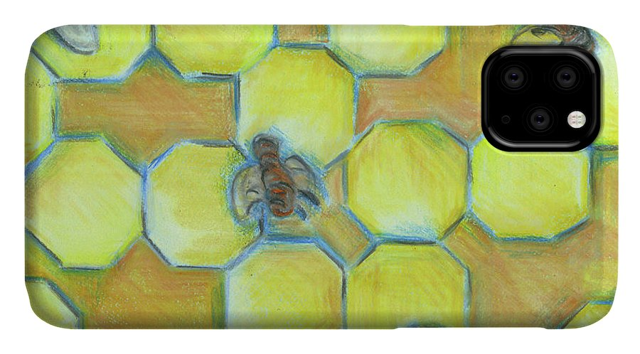 Honeycomb IPhone Case featuring the painting Honeycomb by Claudia Interrante