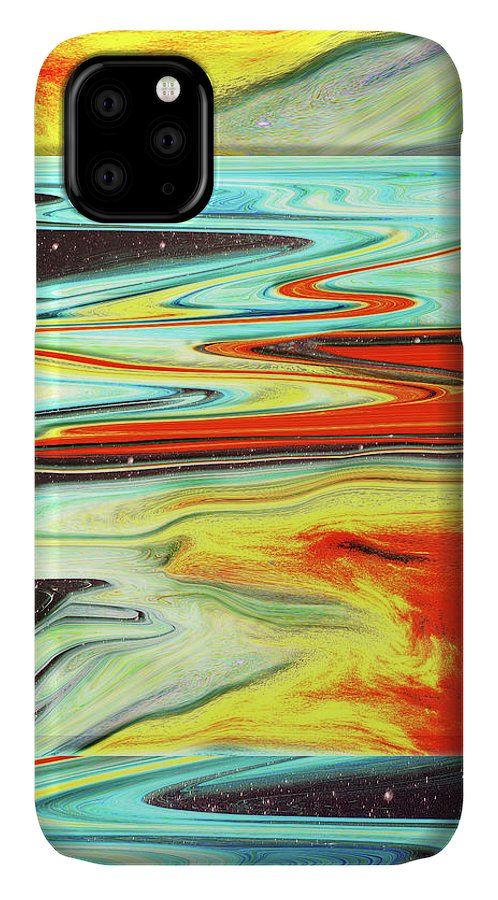 Abstract IPhone Case featuring the digital art Hot Shower at Midnight by Jack Entropy
