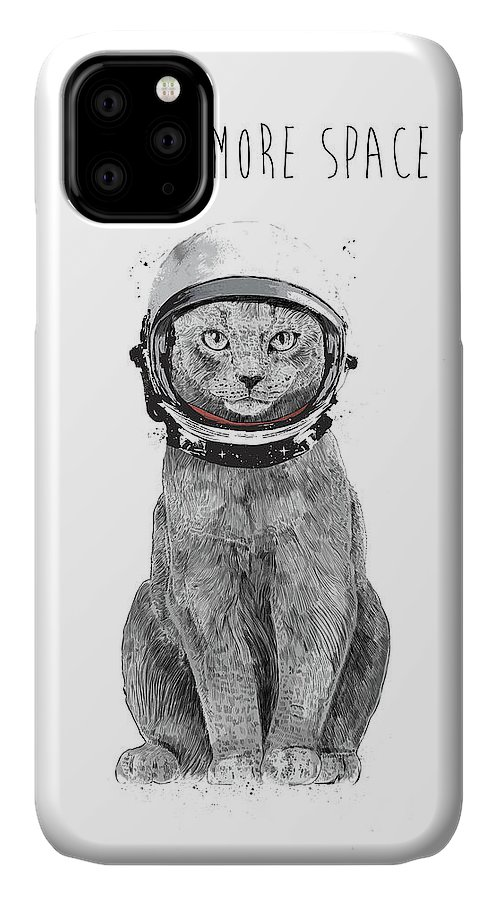 Cat IPhone Case featuring the drawing I need more space by Balazs Solti