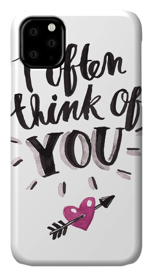 Flowers IPhone Case featuring the digital art I Often Think Of You Valentines Day by Passion Loft