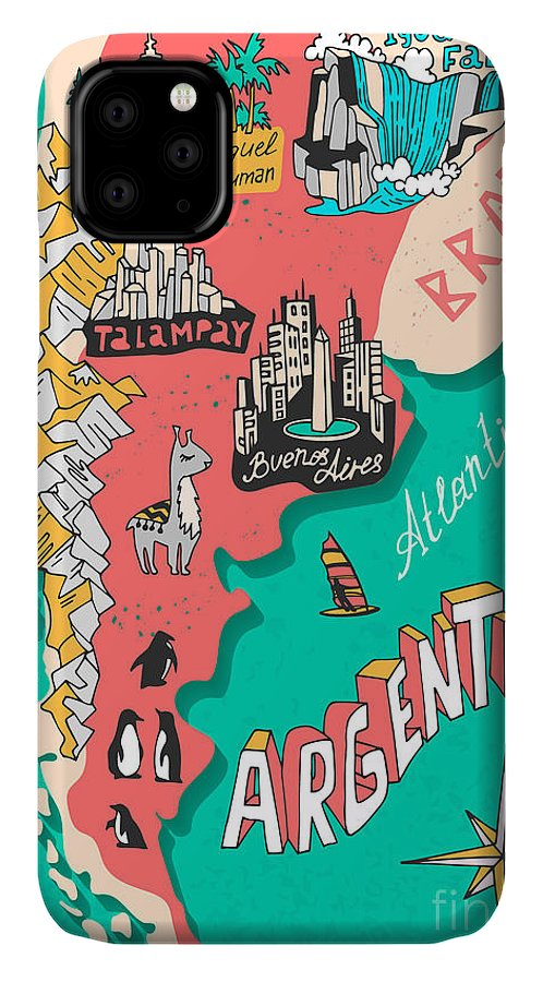 Country IPhone Case featuring the digital art Illustrated Map Of Argentina. Travel by Daria i