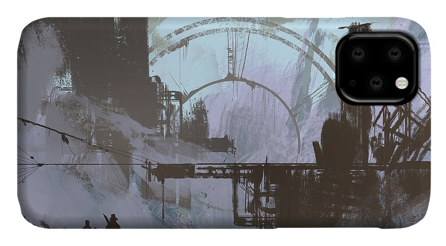 Fi IPhone 11 Case featuring the digital art Illustration Of A Dark City,digital by Tithi Luadthong