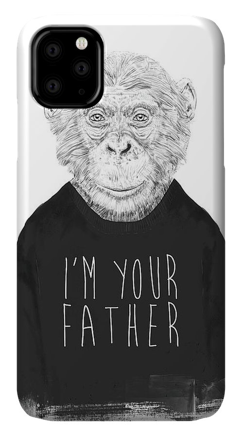 Monkey IPhone Case featuring the mixed media I'm Your Father by Balazs Solti