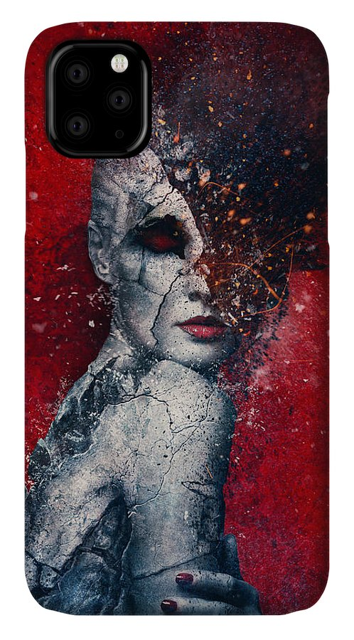 Red IPhone Case featuring the digital art Indifference by Mario Sanchez Nevado