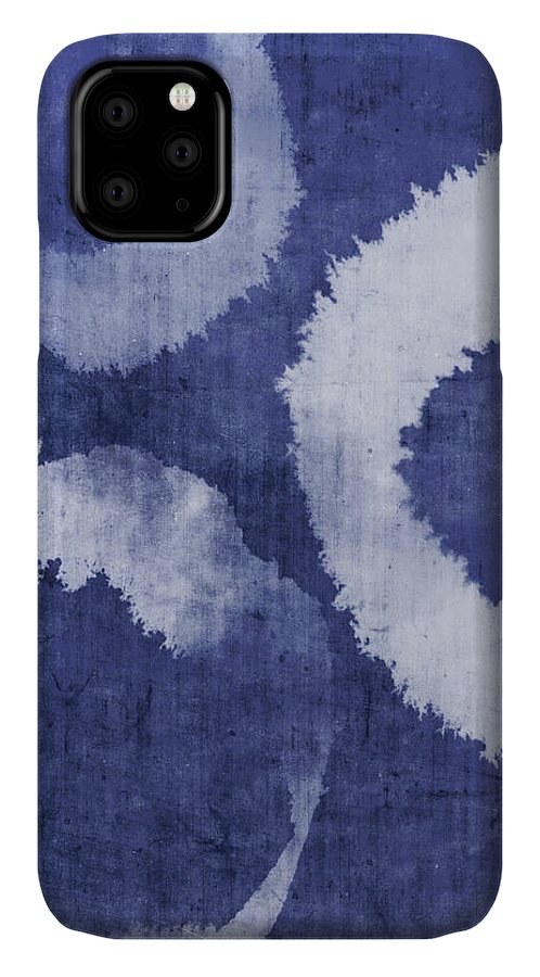 Blue IPhone Case featuring the painting Indigo Water Rings- Art By Linda Woods by Linda Woods