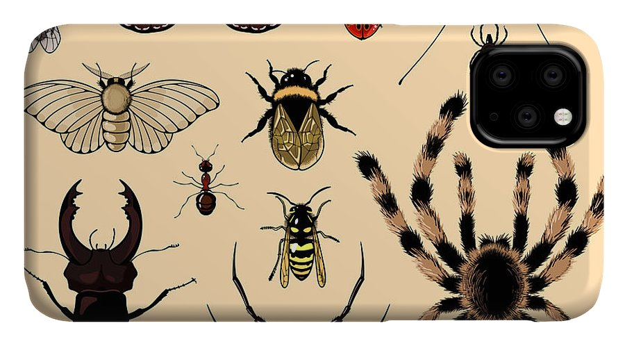 Antenna IPhone Case featuring the digital art Insects by Alena Kozlova