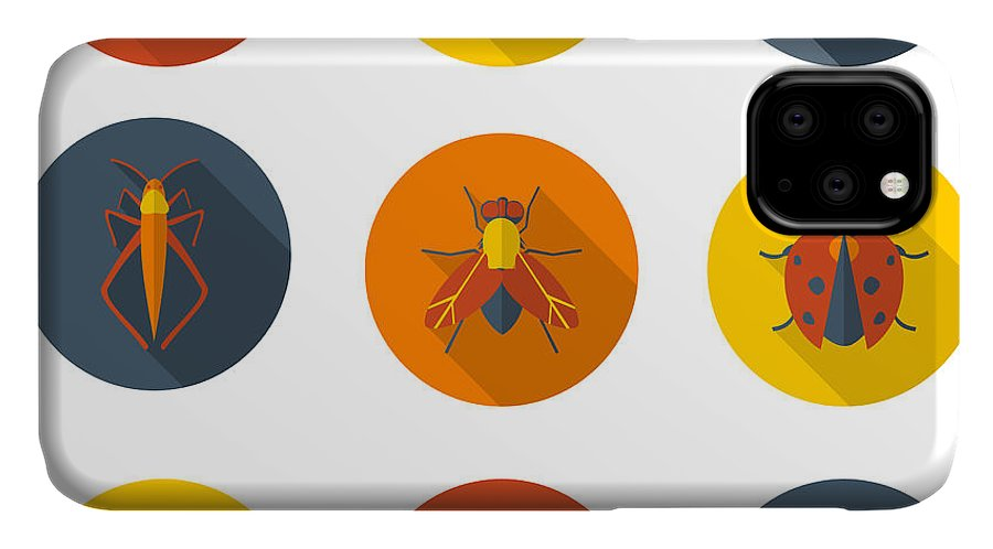 Symbol IPhone Case featuring the digital art Insects Flat Icons by Sly Raccoon