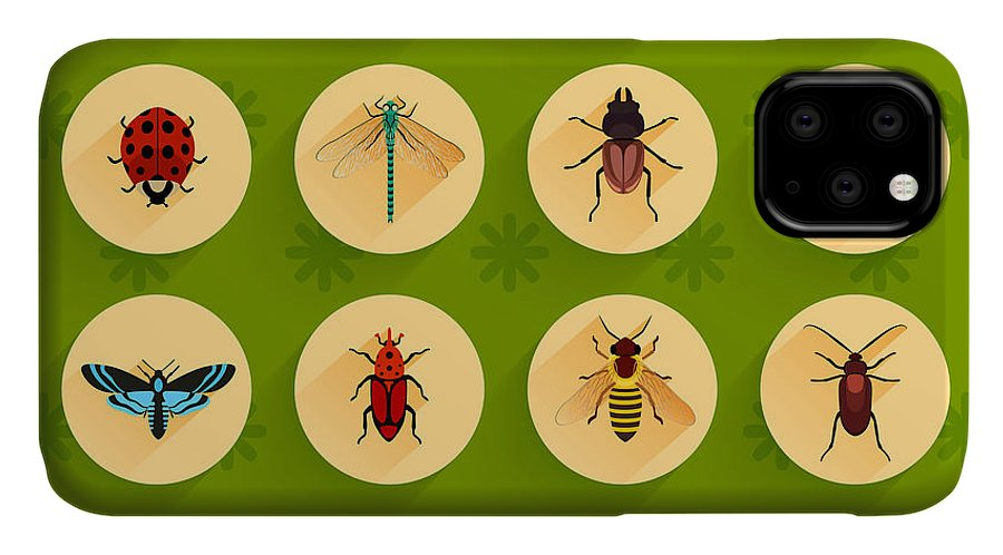 Antenna IPhone Case featuring the digital art Insects Round Button Flat Icons Set by Macrovector