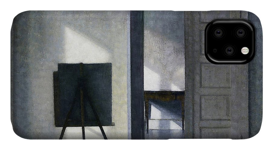 Vilhelm Hammershoi IPhone Case featuring the painting Interior With The Artists Easel - Digital Remastered Edition by Vilhelm Hammershoi